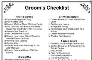 Grooms Checklist